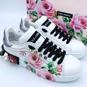 NIB $1300 DOLCE & GABBANA Portofino Rose Sneakers